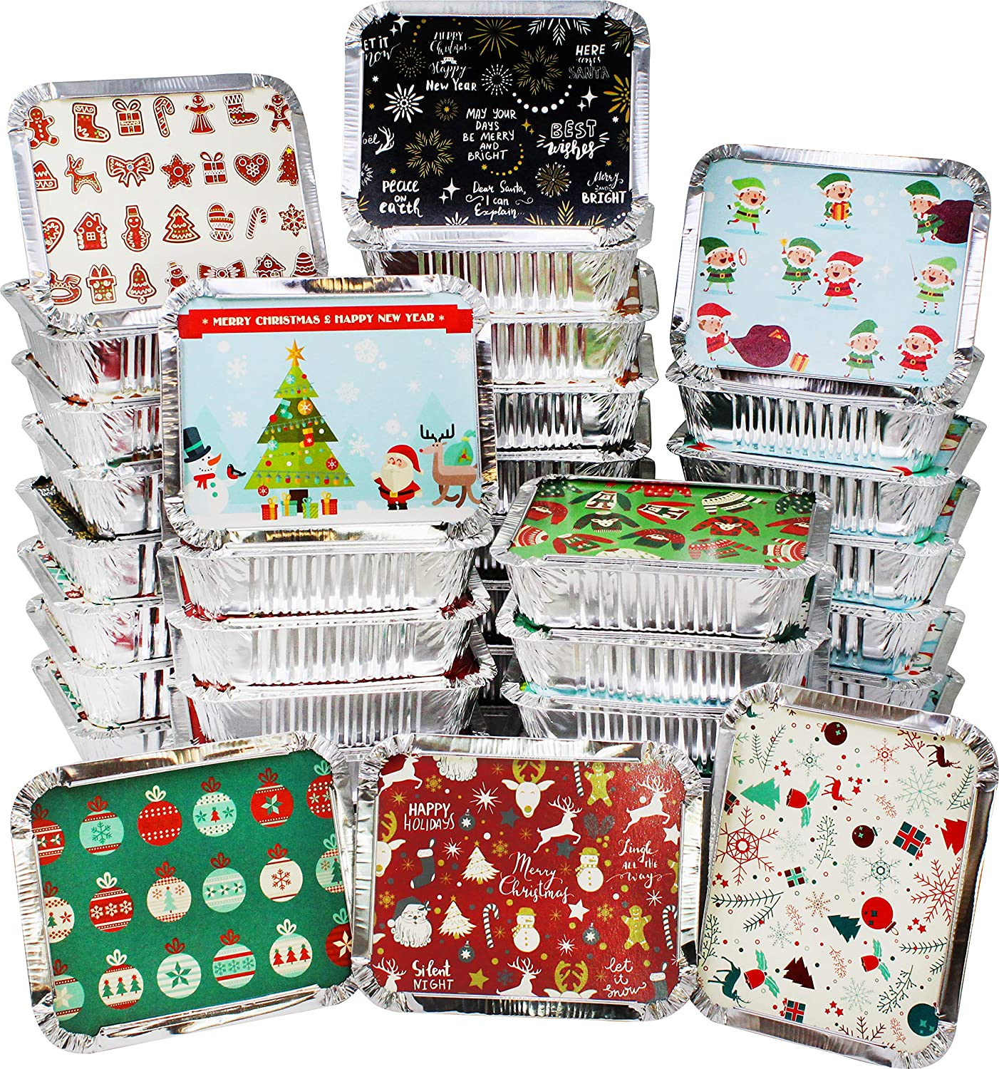 48 pieces Christmas Foil Containers for Food, Treats, Desserts Disposable Food Storage Pan for Party Leftovers or Food Exchange