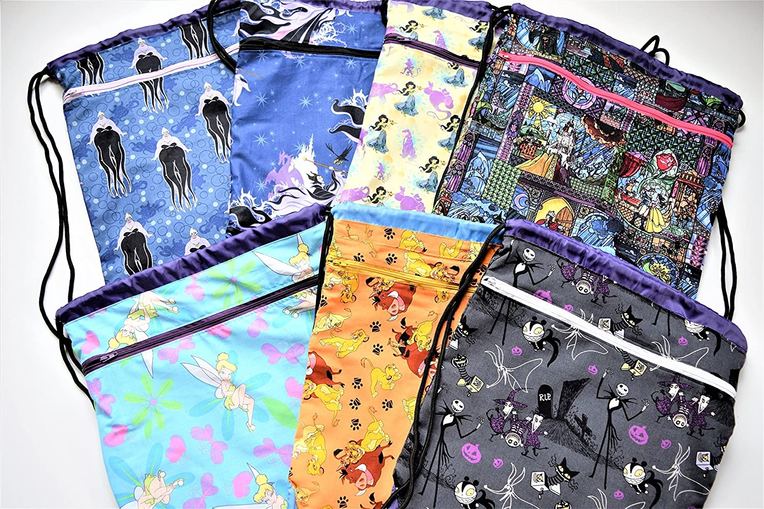 Fabric Covered,Nylon Lined,Drawstring Backpack School,Summer Vacation,My Little Pony,Tinkerbell,Lion King,Maleficent,Ursula,Jasmine