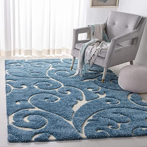 Safavieh Florida Shag Collection SG455-6011 Scrolling Vine Light Blue and Cream Graceful Swirl Area Rug 6 x 9