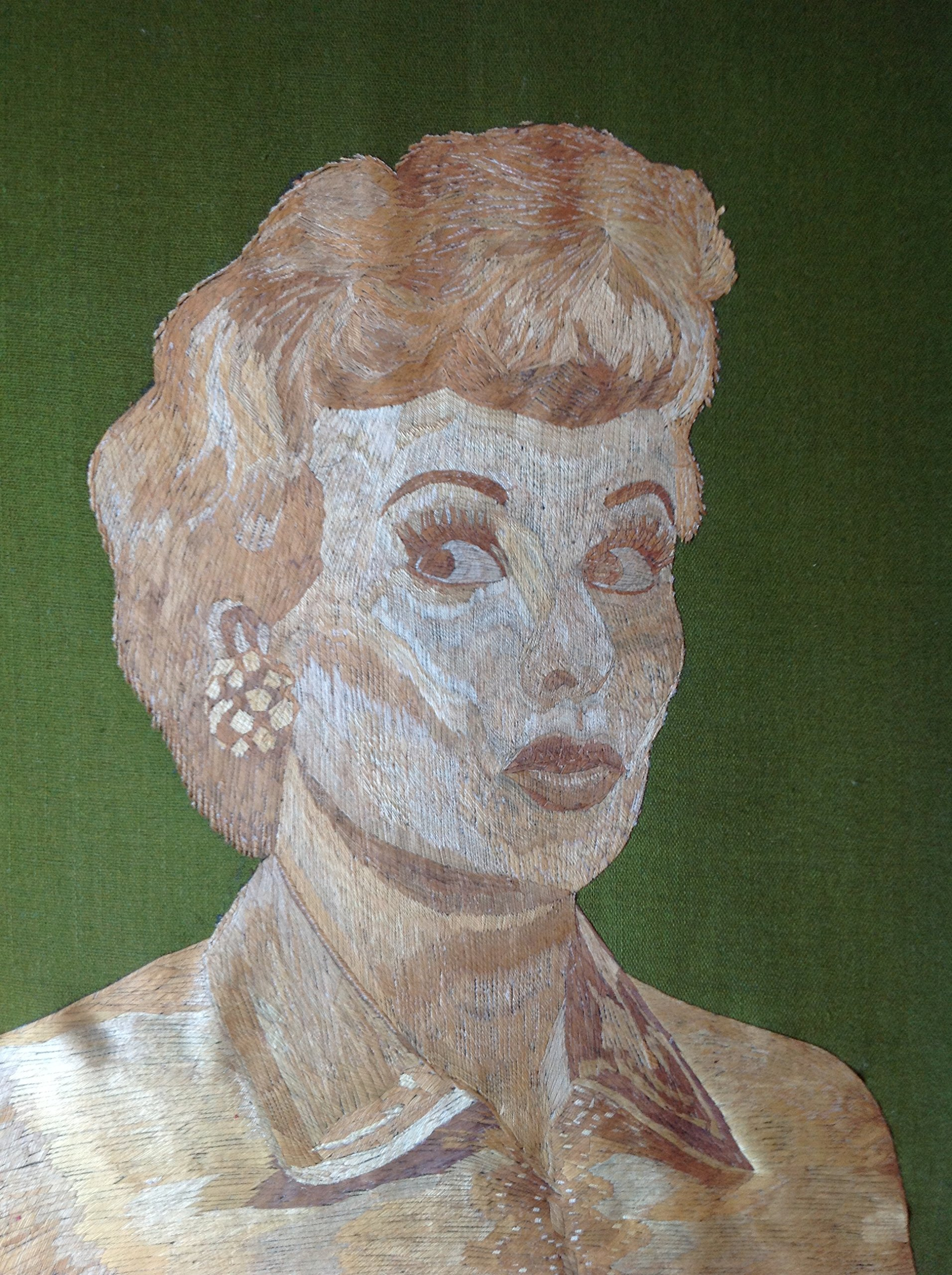 Lucile Ball ''I LOVE LUCY'' fame. Portrait done with rice straw. Thousands of tiny pieces of rice straw used to make it No color paint or dye added to the natural color of rice leaves