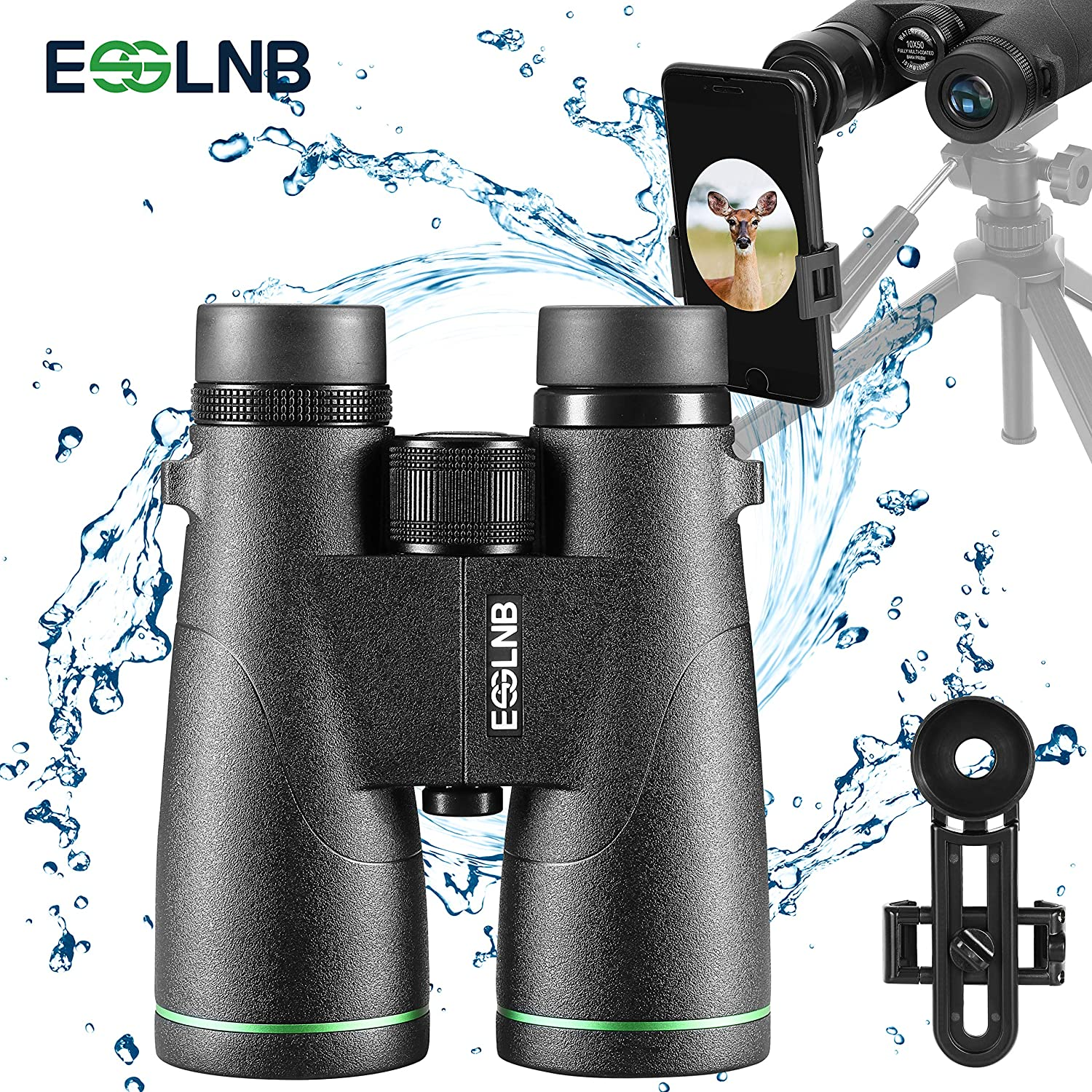 ESSLNB Waterproof Binoculars for Adults IPX7 10×50 Astronomy Binoculars with Phone Adapter BAK4 Fully Multi-Coated Compact Binoculars for Bird Watching Hunting with Carrying Bags and Strap