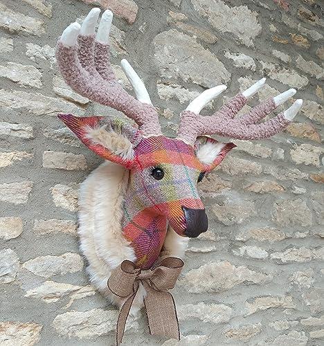 Amazon com: Handmade faux taxidermy Harris Tweed multi check deer