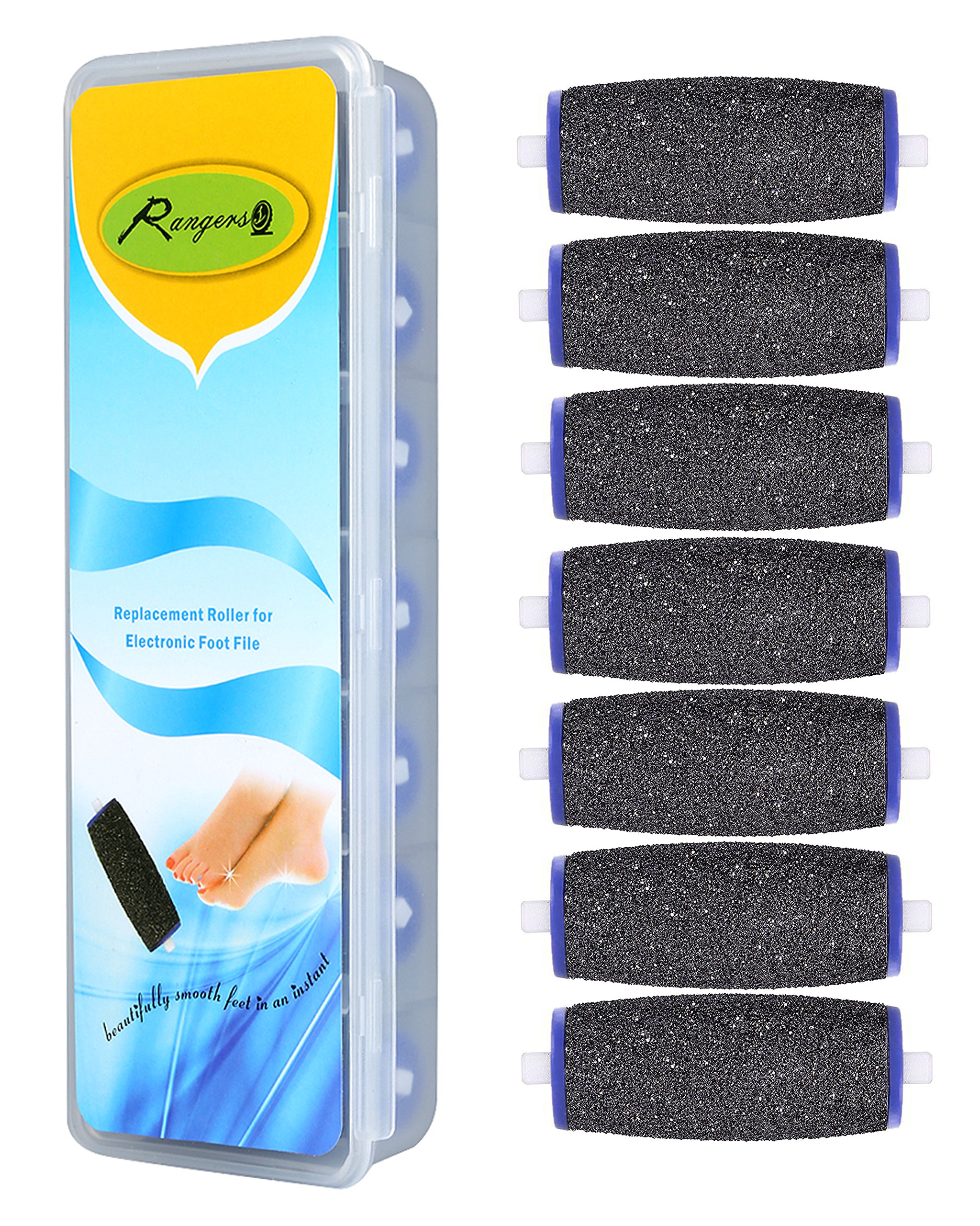 Pedi Roller Replacement Heads (Pack of 7) compatible with Amopé Electronic Foot File-Professional Grade Pedicure Refills-Coarse for Rough Skin-Best Sole Skin Exfoliation.