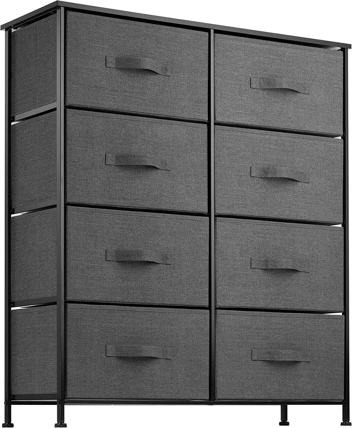 8 Drawer Dresser Organizer Fabric Storage Chest for Bedroom, Hallway, Entryway, Closets, Nurseries. Furniture Storage Tower Sturdy Steel Frame, Wood Top, Easy Pull Handle Textured Print Drawers