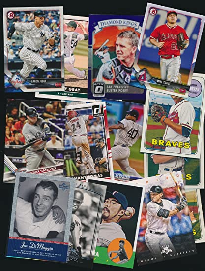 Amazon Com Lot Of 100 Modern Baseball Cards Instant Collection With Cards From 2018 Including Stars And Rookies Toys Games