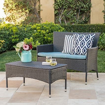 Amazon.com: Great Deal Furniture Malta Outdoor Grey Wicker Loveseat ...