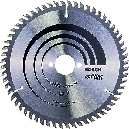 Bosch 2 608 641 188 - Hoja de sierra circular Optiline Wood - 190 x 30 x 2,6 mm, 60 (pack de 1): Amazon.es: Bricolaje y herramientas
