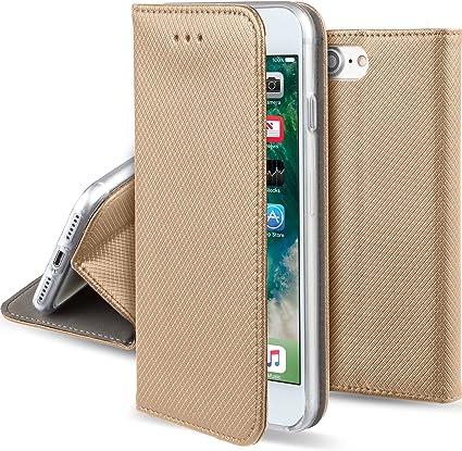 Moozy Cover per iPhone SE 2020, iPhone 7, iPhone 8, Oro - Custodia a Libro Flip Smart Magnetica con Appoggio e Porta Carte