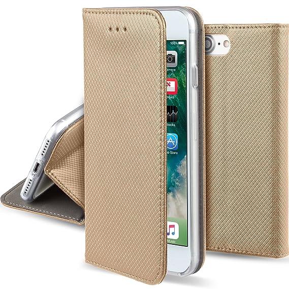 Moozy Hülle Flip Case für iPhone SE/iPhone 5s, Gold - Dünne magnetische Klapphülle Handyhülle mit Standfunktion