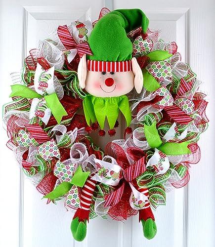 elf wreath elf door wreath christmas mesh wreath holiday front door wreath - Christmas Mesh Wreath Ideas