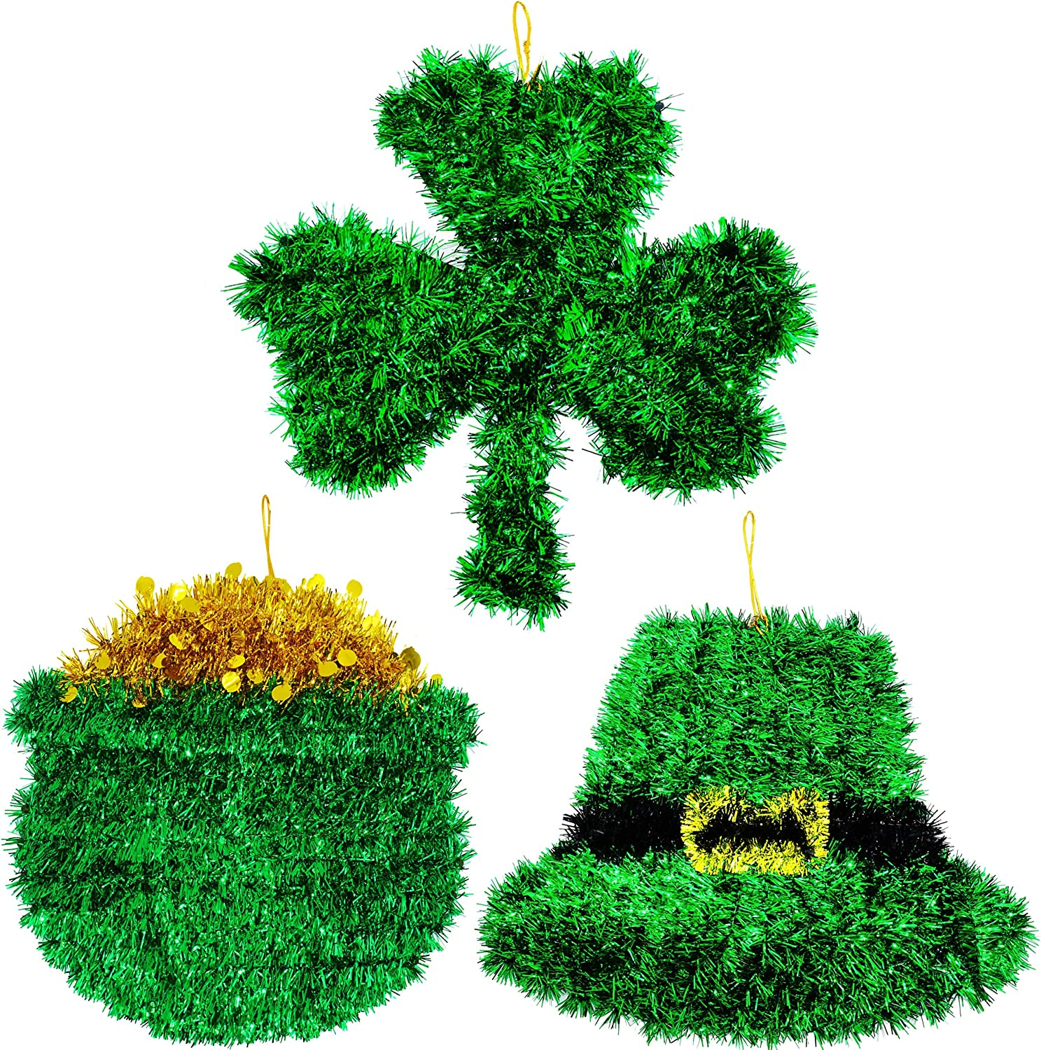 4E's Novelty St Patricks Day Door Decorations Wreath Sign Decor 3 Pcs Tinsel Hanging Wall Sign Decor for Home, Green Shamrock St. Patrick's Day Decorations for Indoor Outdoor Front Door 10 Inches