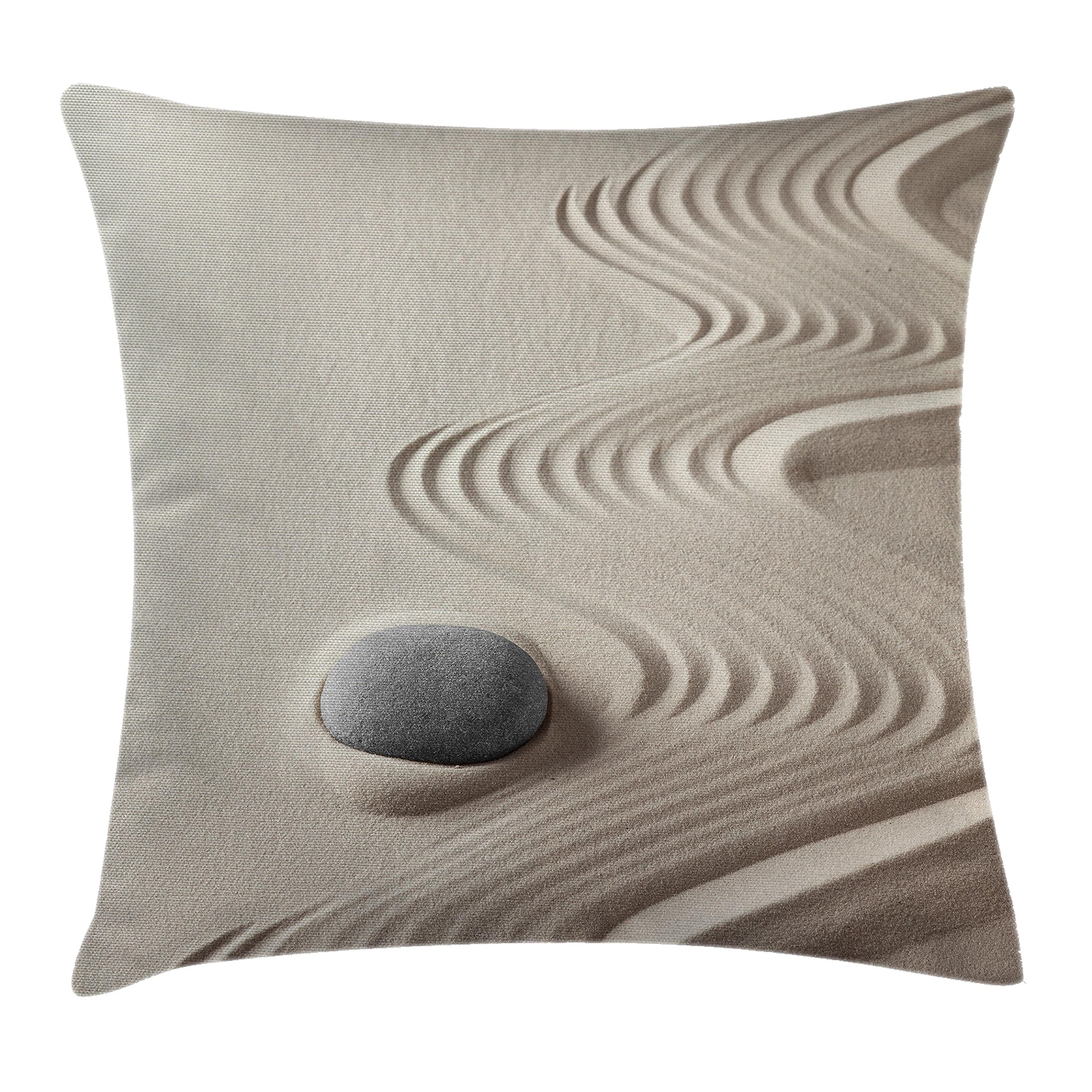 Lunarable Spa Throw Pillow Cushion Cover, The Caribbean White Sand in Shaped Like Waves Near a Grey Zen Stones Work of Art, Decorative Square Accent Pillow Case, 26 X 26 inches, Beige and Grey