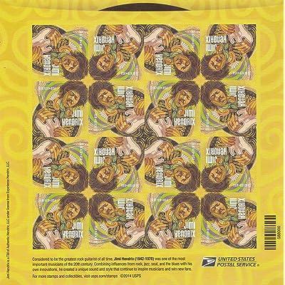 "2014 Sheet of 16 ""Jimi Hendrix"" Forever U.S. Postal Stamps: Toys & Games"