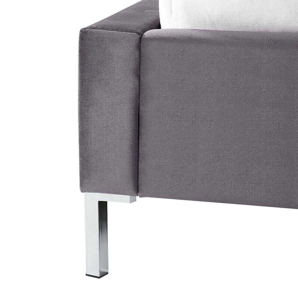 InspiredHome Grey Velvet Platform Bedframe – Design: Leonardo | King Size | Tufted | Modern | Nailhead Trim Finish