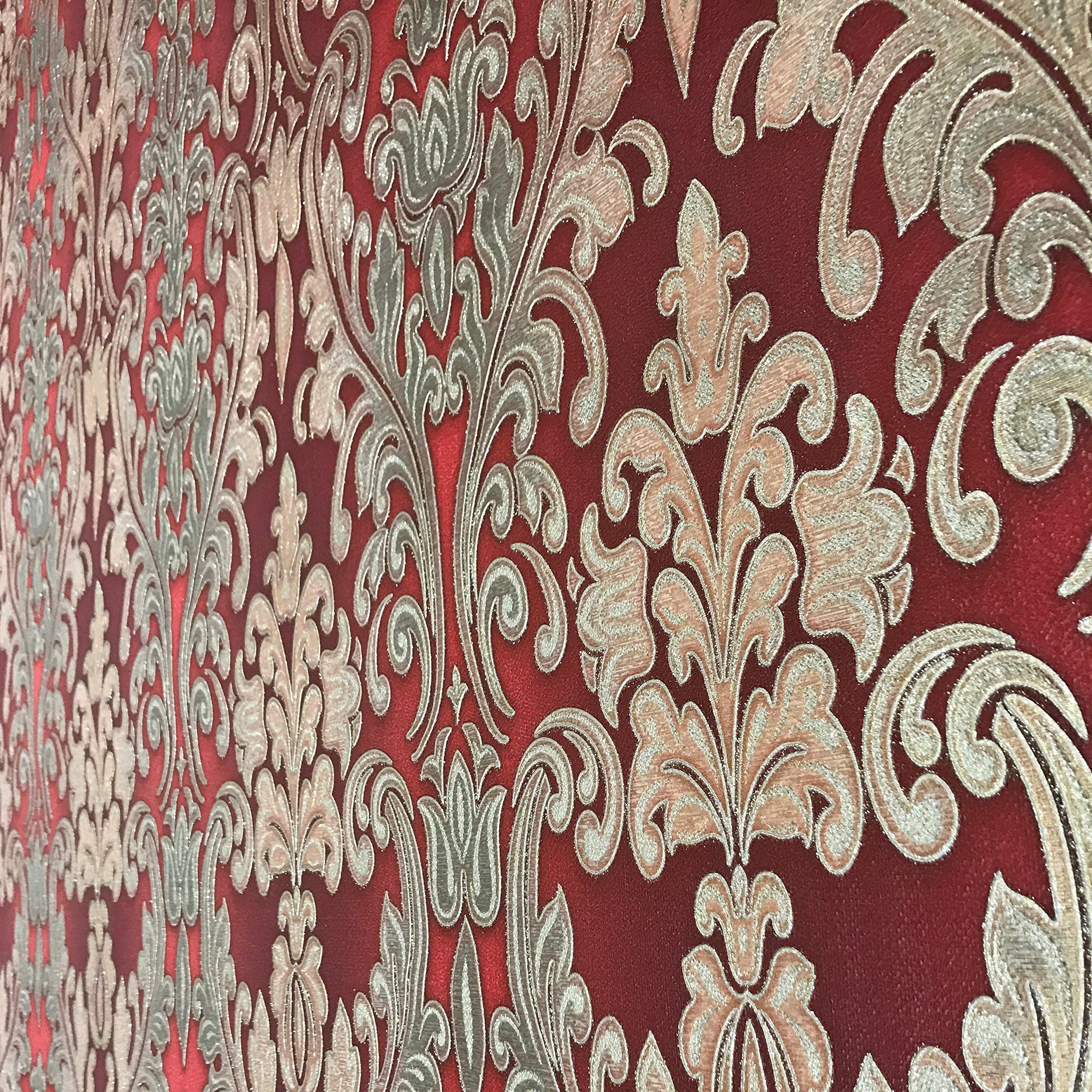 QUADRUPLE ROLL 113.52sq.ft (4 single rolls size) European Slavyanski wallcovering washable victorian pattern Vinyl Non-Woven Wallpaper red burgundy gold textured stripe glitters metallic damask 3D by Slavyanski