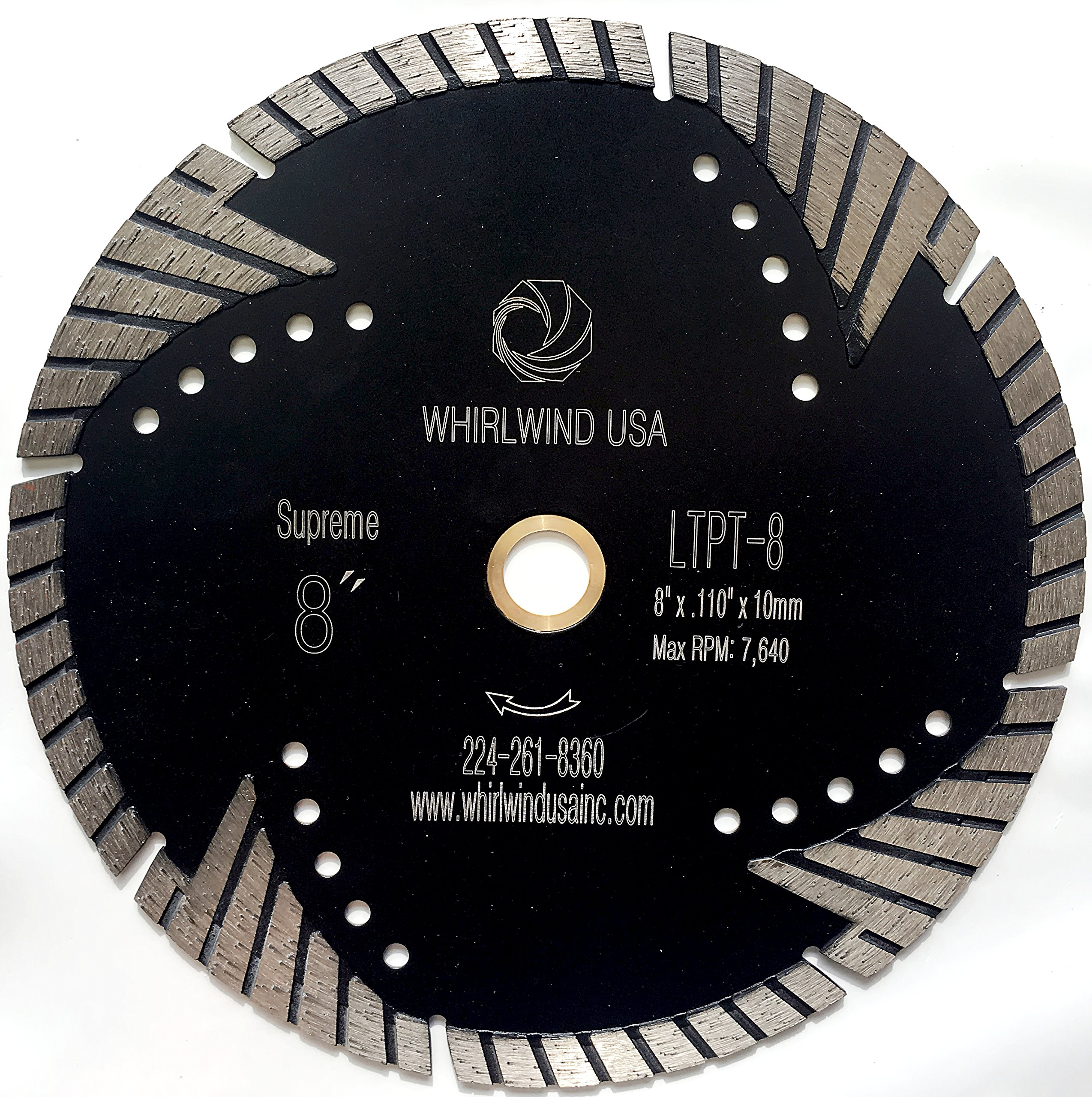 Whirlwind USA LTPT 8 inch Dry or Wet Cutting General Purpose Power Saw Protected Continue Turbo Diamond Blades for Granite Stone Concrete (Factory Direct Sale) (8'')