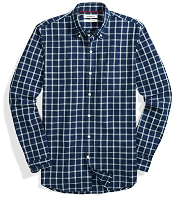 97ec11f0b404 Goodthreads Men's Slim-Fit Long-Sleeve Pattern Chambray Shirt, Plaid, Small