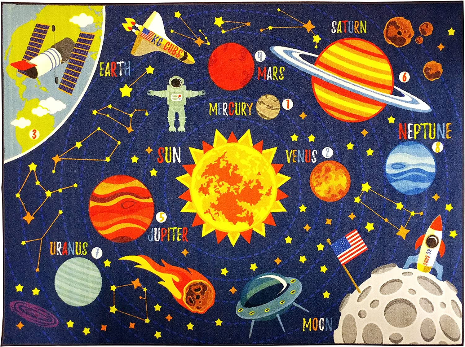 "KC Cubs Playtime Collection Space Safari Road Map Educational Learning & Game Area Rug Carpet for Kids and Children Bedrooms and Playroom (3' 3"" x 4' 7"")"
