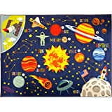 """KC CUBS Playtime Collection Space Safari Road Map Educational Learning & Game Area Rug Carpet for Kids and Children Bedrooms and Playroom (5' 0"""" x 6' 6"""")"""