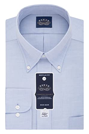 Eagle Men S Dress Shirt Regular Fit Non Iron Stretch Collar Solid At