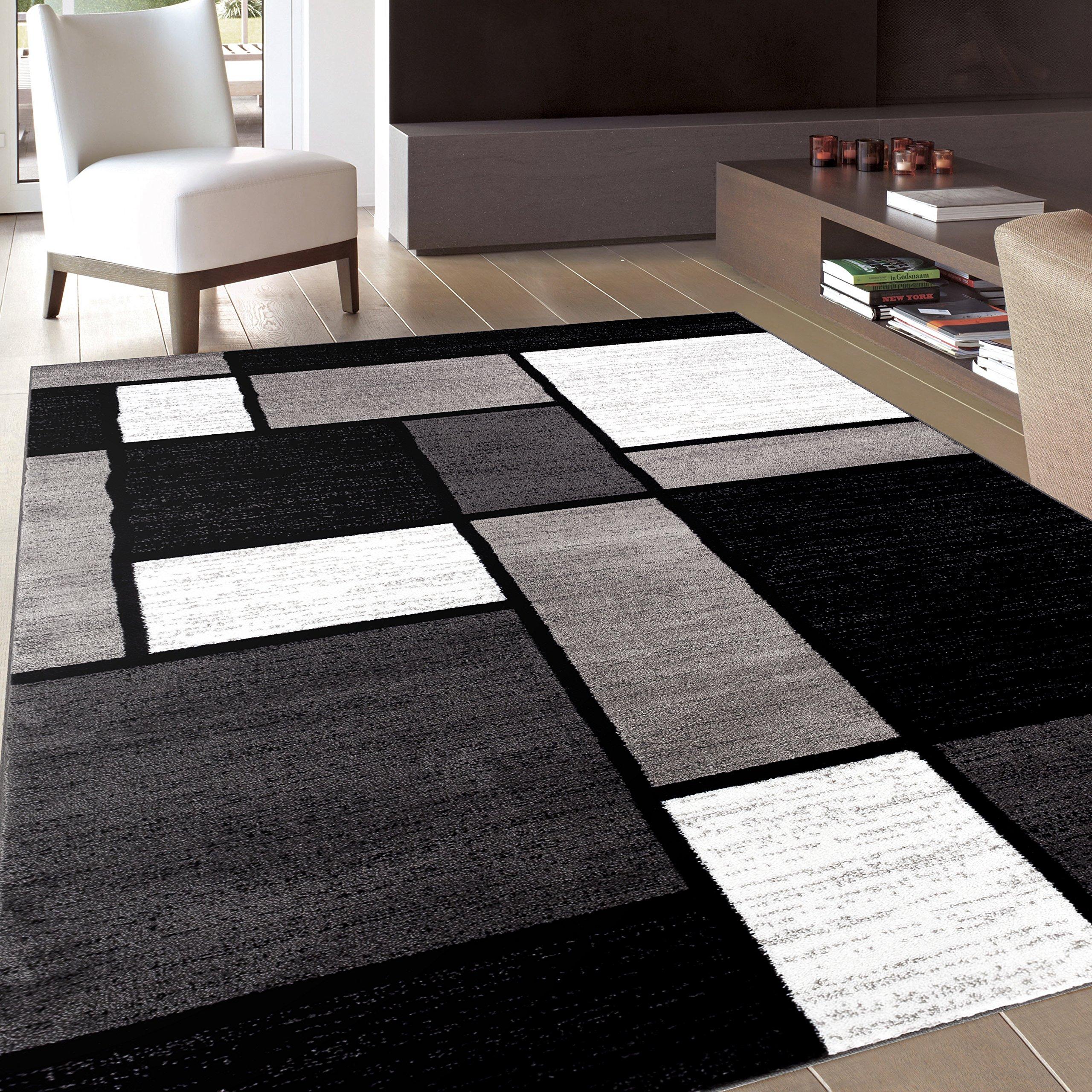 Rug Decor Contemporary Modern Boxes Area Rug, 5' 3'' by 7' 3'', Grey