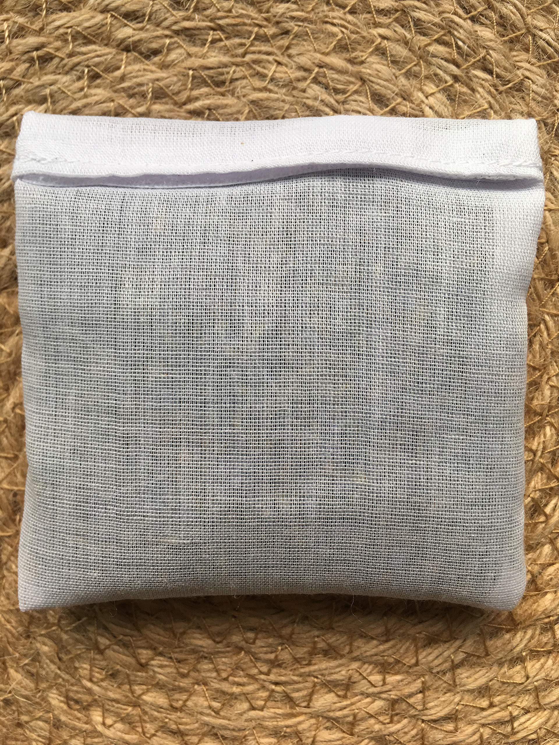 Hand Embroidered Lavender Pillow Sachet Bag ''Lavender Crown'' Natural Linen Cushion 6''x6'', Set of 3 by Minhcraft (Image #5)