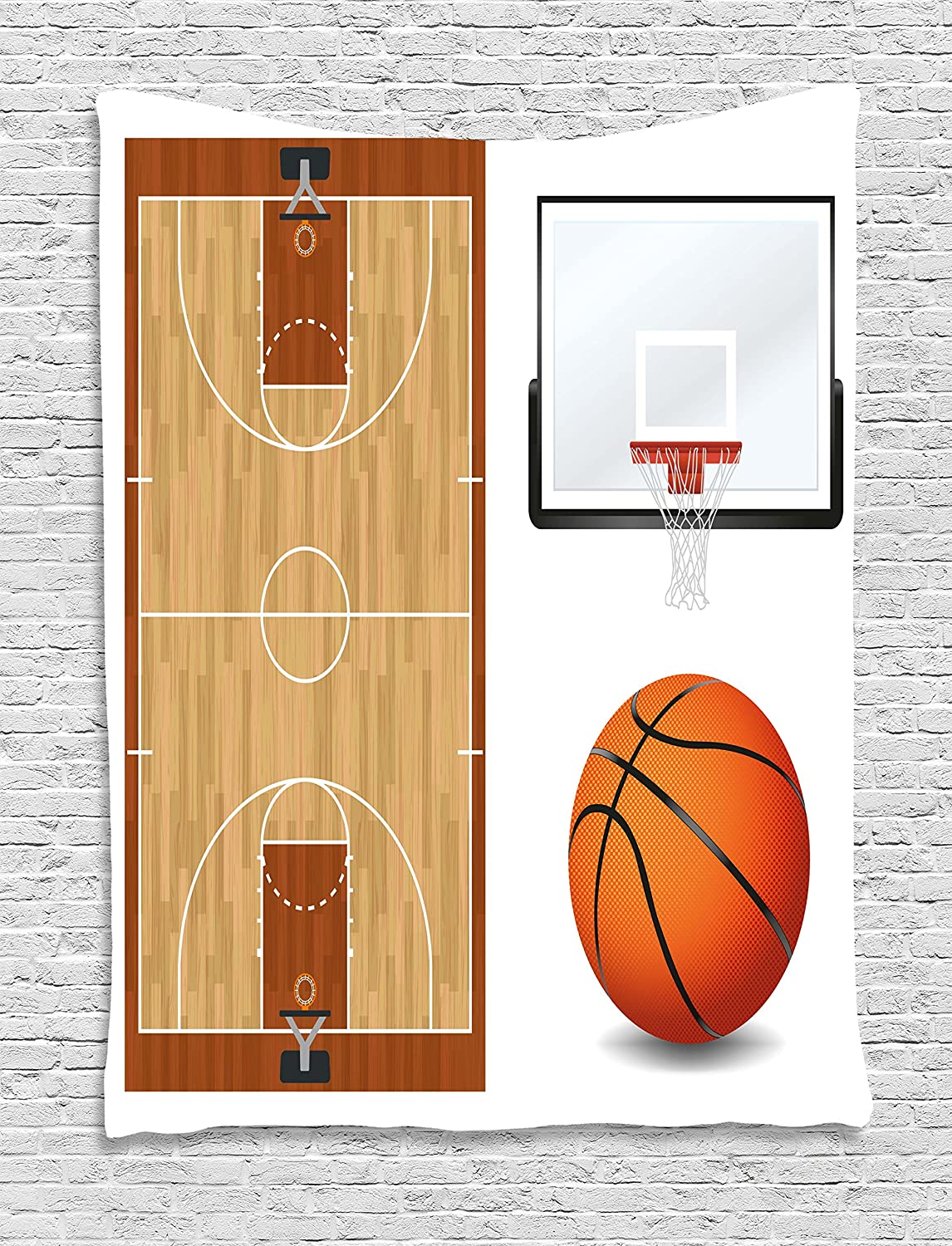 Sports Tapestry Empty Basketball Court Print Wall Hanging Decor