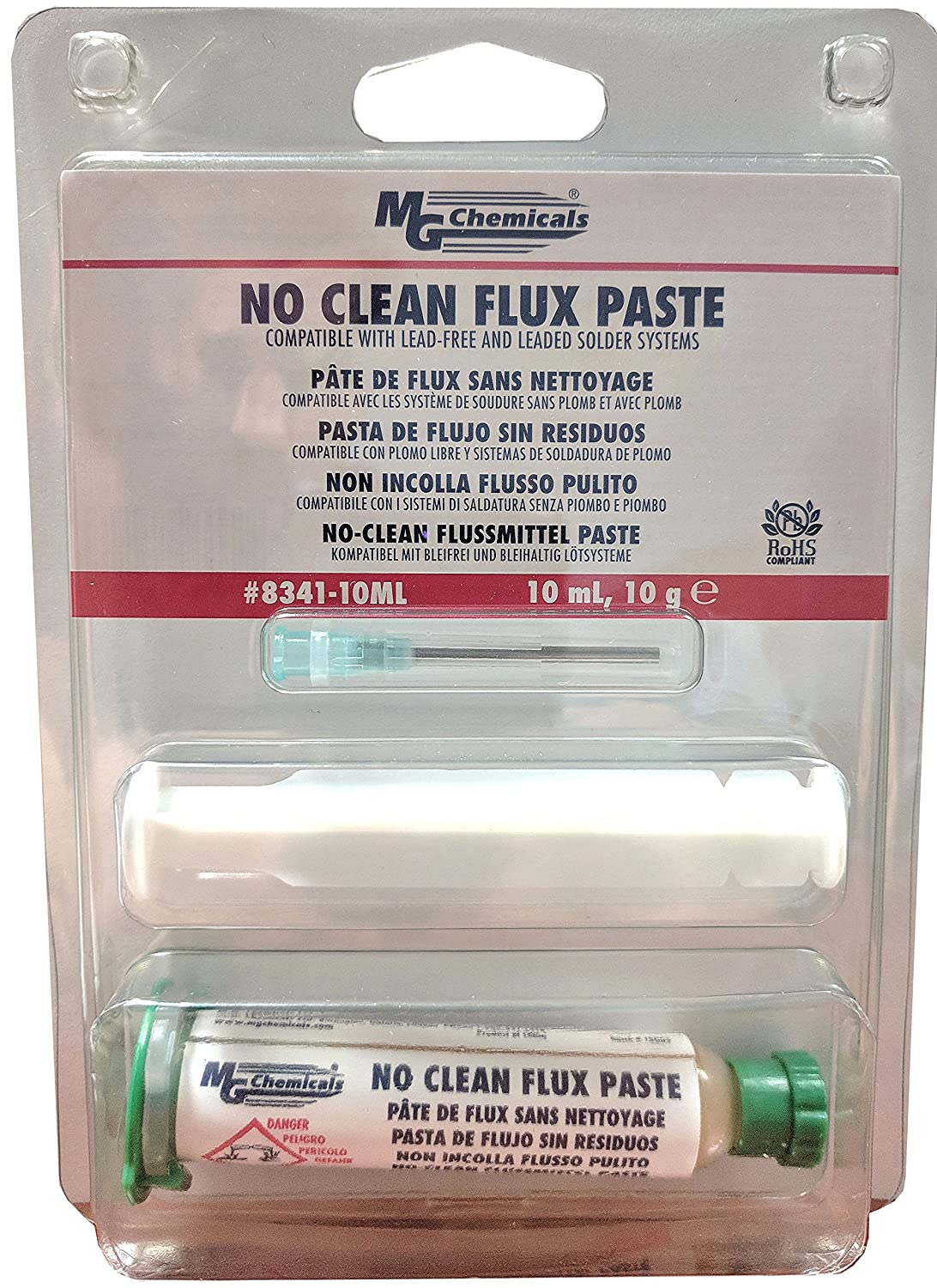MG Chemicals 8341 No Clean Flux Paste, 10 milliliters Pneumatic Dispenser (Complete with Plunger & Dispensing Tip), 2 Pack - - Amazon.com