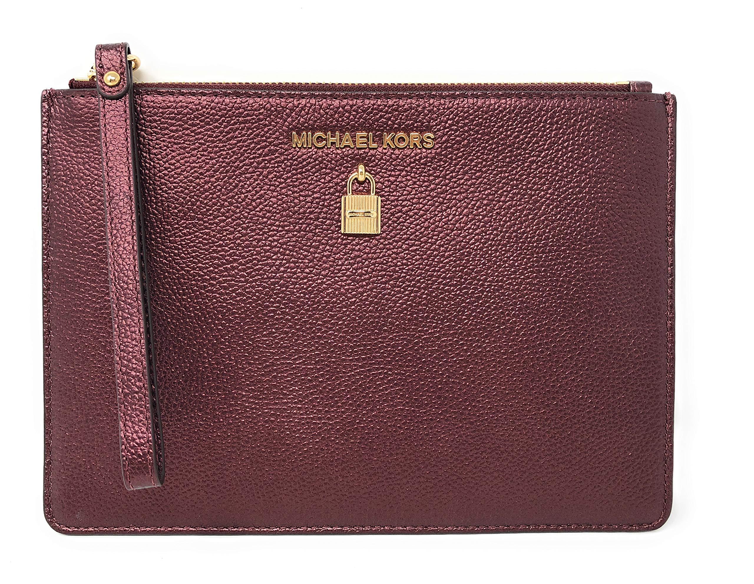 Michael Kors Adele XL Large Zip Leather Clutch Wristlet Purse in Merlot