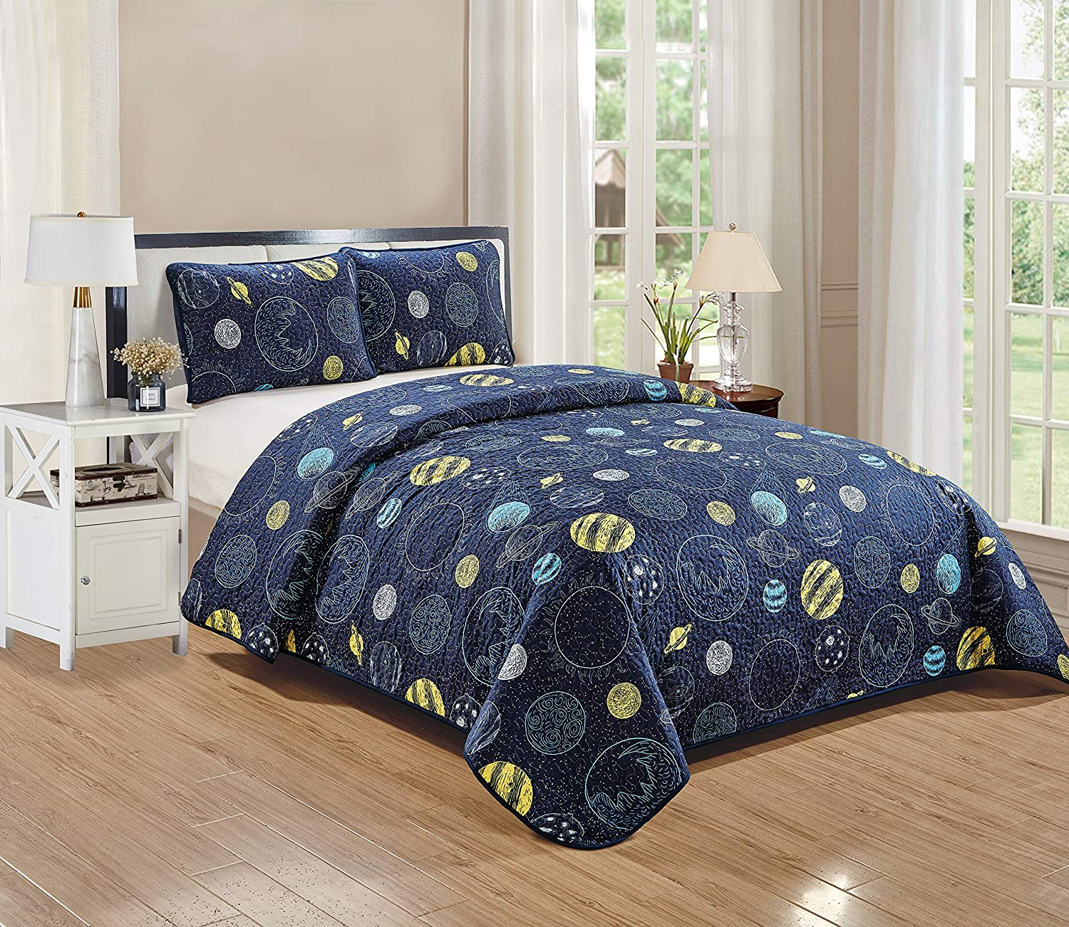 Better Home Style Space Planet Galaxy World Cosmos Kids/Boys/Toddler Navy Blue and Yellow 2 Piece Coverlet Bedspread Quilt Set with Pillowcases # Little Galaxy (Twin)