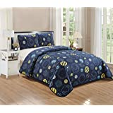 Better Home Style Space Planet Galaxy World Cosmos Kids / Boys / Toddler Navy Blue and Yellow 3 Piece Coverlet Bedspread…