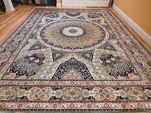 Stunning Persian Silk Area Rugs 8×11 Traditional Carpet Large Green Tabriz Design Carpet Luxury Green Silk Rug 8×10 Carpet for Living Rooms