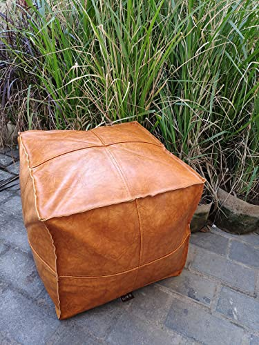 RISEON Unstuffed Boho Handmade Faux Leather Moroccan Pouf Footstool Ottoman Leather Poufs 17.7″ x17.7″