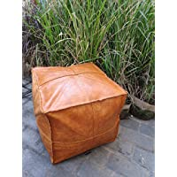 """RISEON Unstuffed Boho Handmade Faux Leather Moroccan Pouf Footstool Ottoman Leather Poufs 17.7"""" x17.7"""" -Square Floor…"""