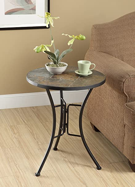 4D Concepts Slate Round Top Coffee Table, Metal/Slate