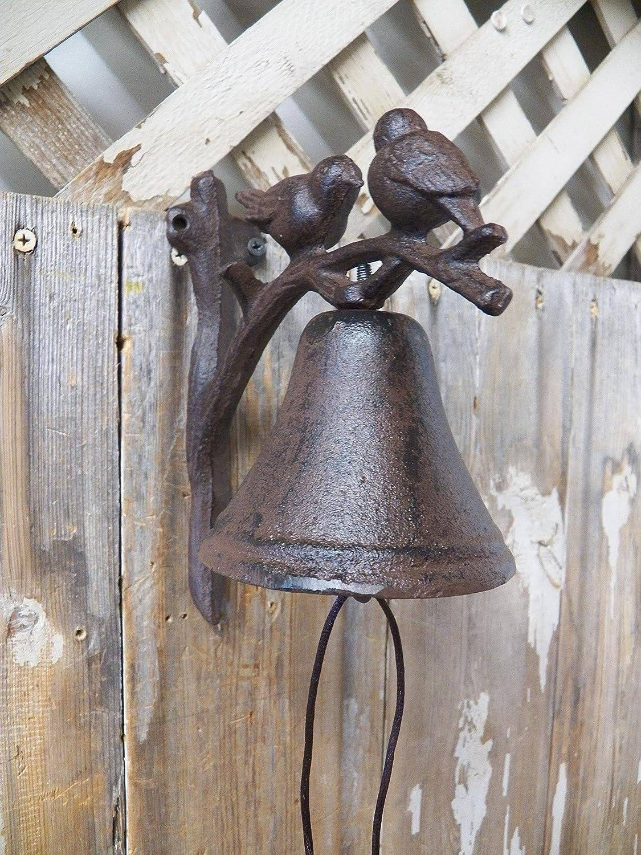 """Bird Ornate Wall Mounted Cast Iron Dinner Bell Garden Humming Finch 9 1//2/"""" Tall"""