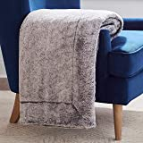"Amazon Brand – Rivet Faux Fur Throw Blanket, Soft and Stylish, 80"" x 60"", Black"