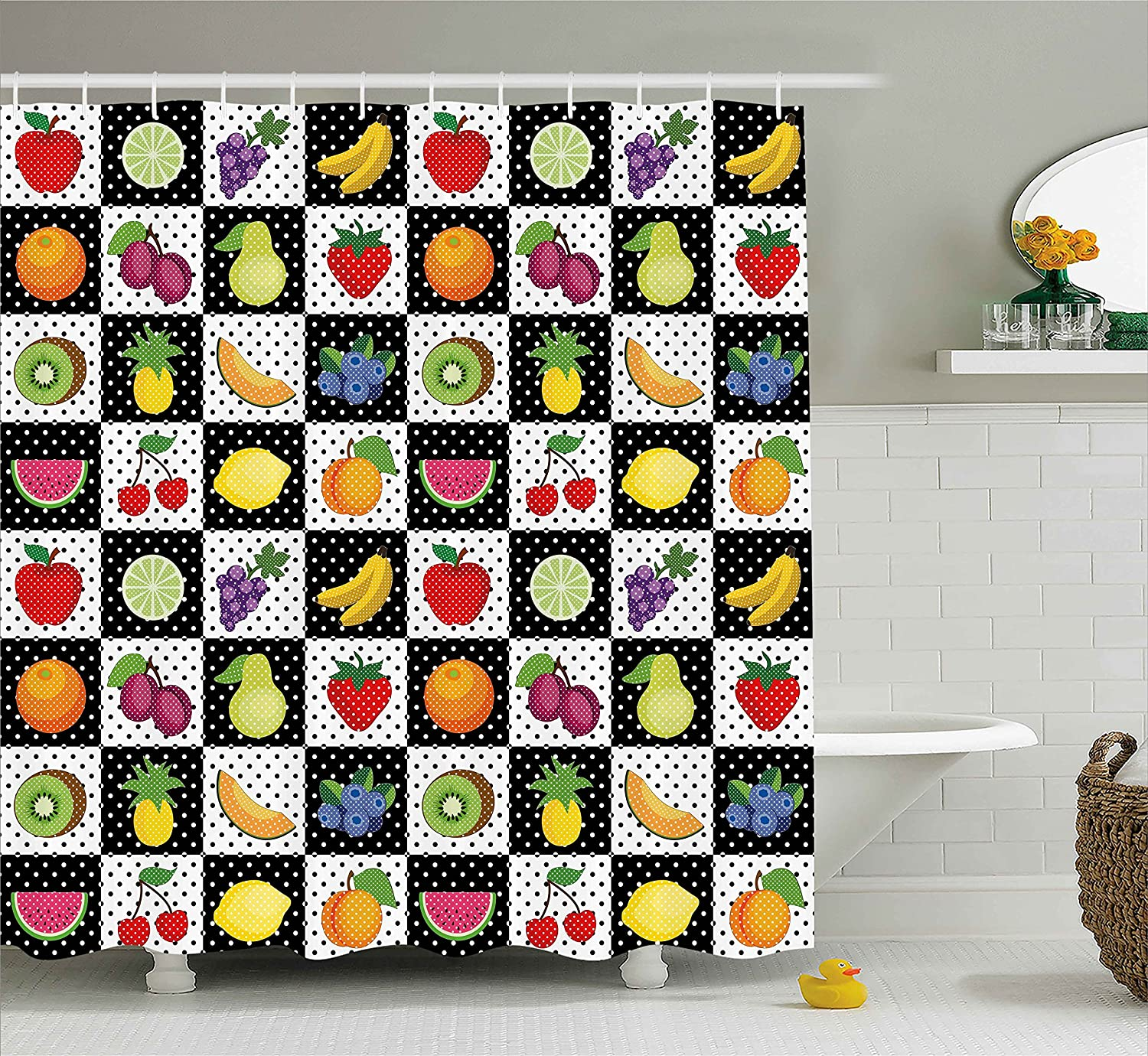 Ambesonne Black and White Decor Shower Curtain, Kitchen Fruits Vegetables Nature with Dots Chess Squares Art Design, Fabric Bathroom Decor Set with Hooks, 70 Inches, Multicolor