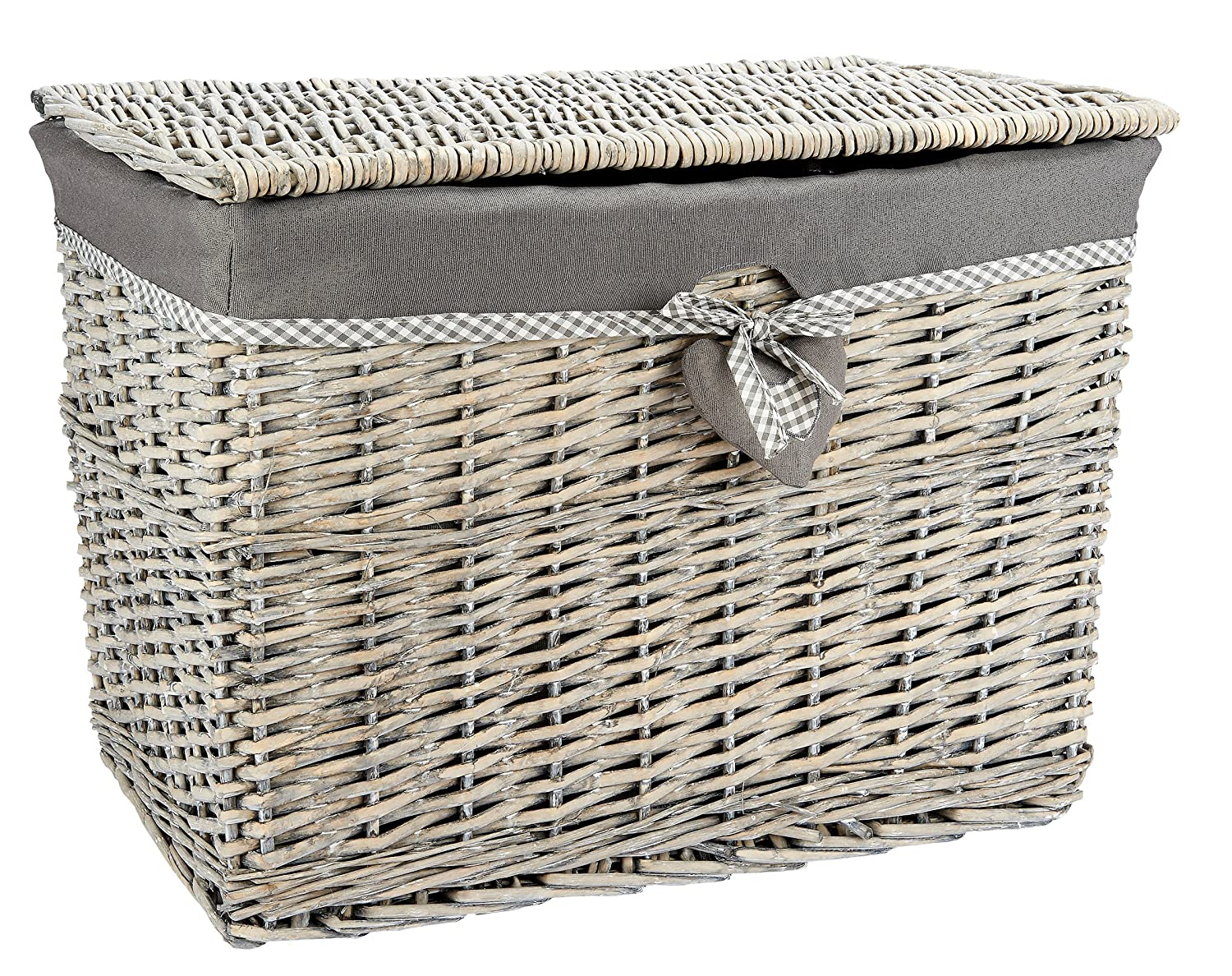 Medium Grey Wicker Storage Basket Trunk Chest Hamper Lidded with Cloth Linning, W51 x D31 x H36cms Woodluv