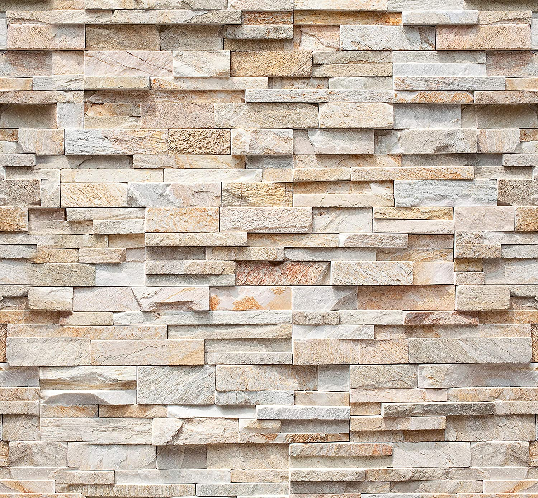 murimage Papel Pintado Piedra 3D 274 x 254 cm Incluye Pegamento Fotomurales Muro Naturaleza Ladrillo beige Pared sala living