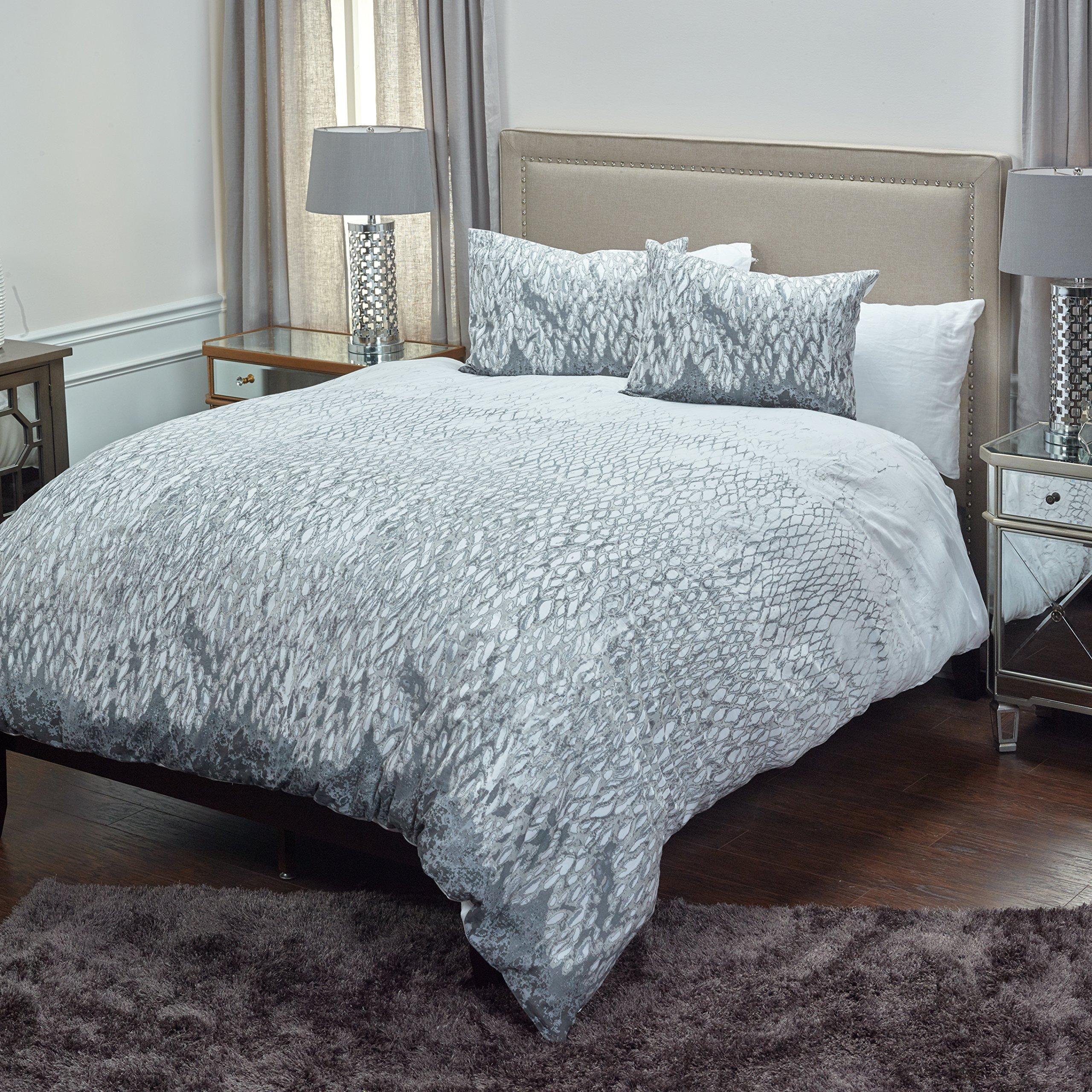 Rizzy Home DFSBT4220WHGY1498 Swank Cotton Duvet Cover Set,White,King