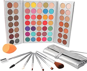 Beauty Glazed 63 Colors Eyeshadow Professional Makeup 63 Colors EyeShadow Palette Powder With Profession Makeup Brushes Set and Powder Blender Gorgeous Me Cosmetics Perfect Color Eye Shadow Tray Set