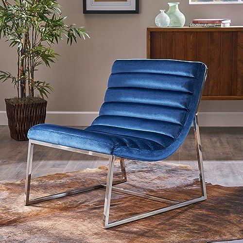 Christopher Knight Home Raoul Parisian Modern Velvet Sofa Chair, Navy Blue Stainless Steel