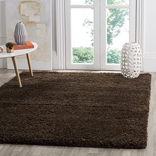Safavieh Santa Monica Shag Collection SGN725-2727 Brown Plush Area Rug 3 x 5