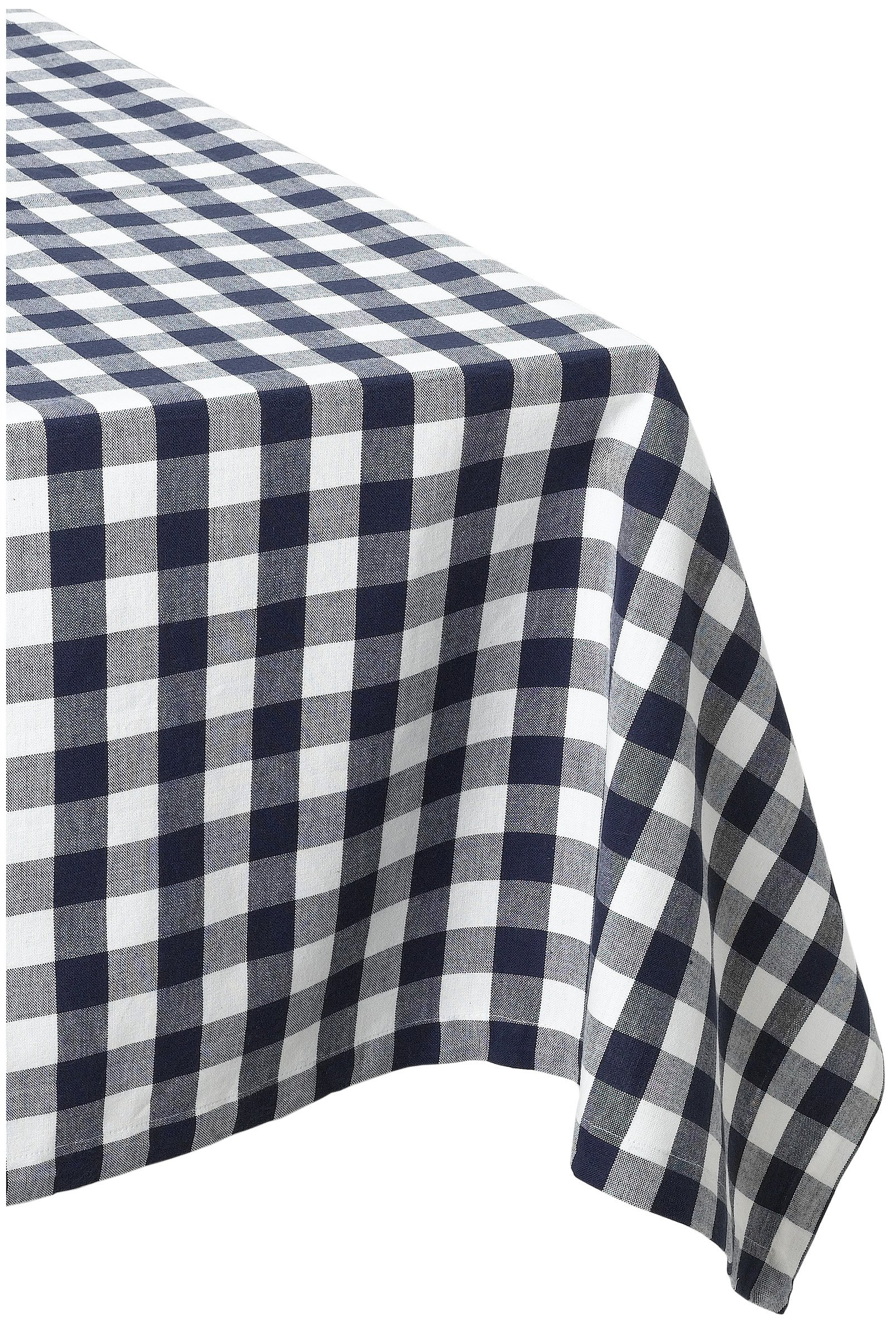 DII 100% Cotton, Machine Washable, Dinner, Summer & Picnic Tablecloth 60 x 84'', Nautical Blue Check, Seats 6 to 8 People