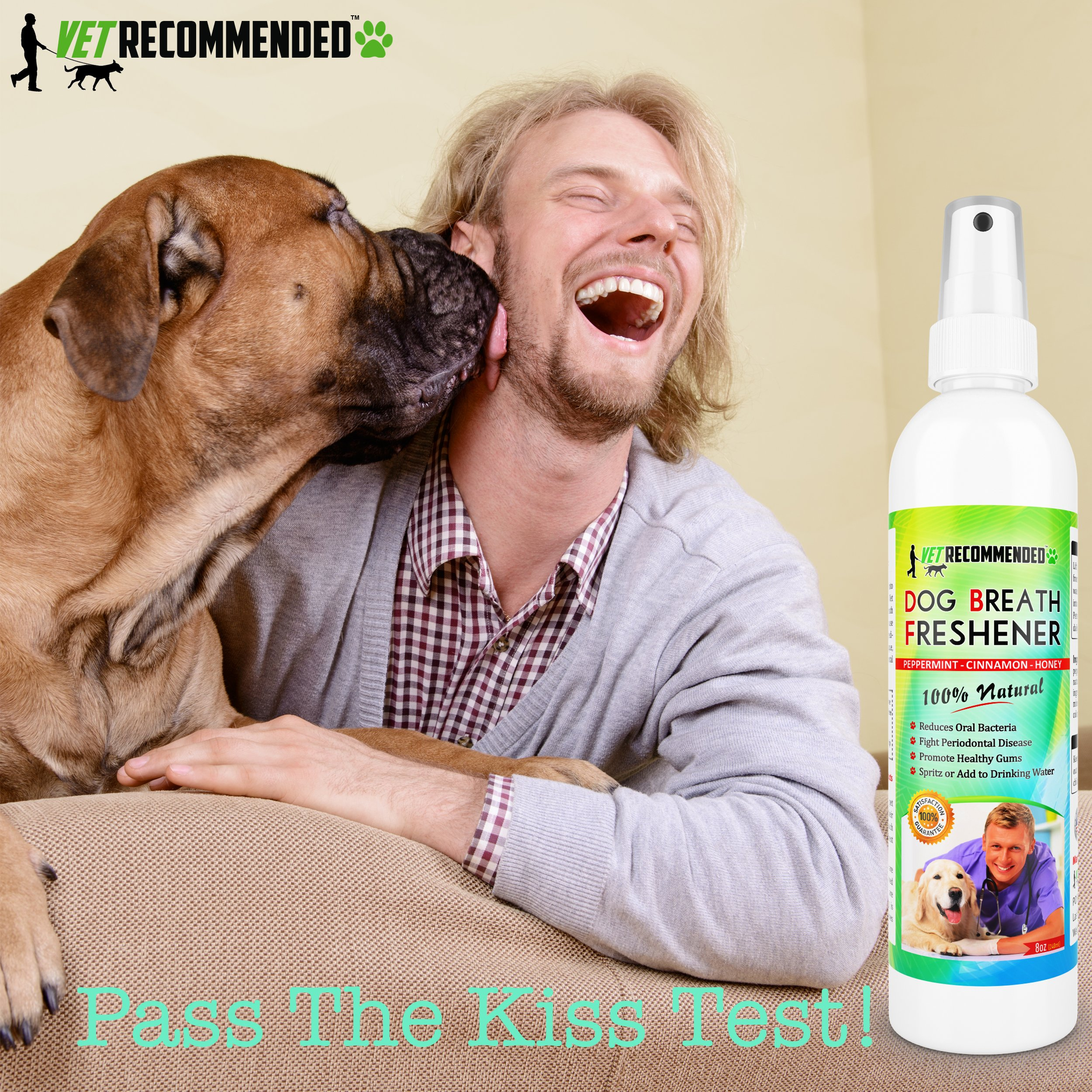 Vet Recommended Dog Breath Freshener & Pet Dental Water Additive (8oz/240ml) All Natural - Perfect for Bad Dog Breath & Dog Teeth Spray. Spray in Mouth or Add to Pet's Drinking Water. USA Made. by Vet Recommended (Image #2)