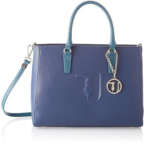 572d61dcd6 Trussardi Jeans Ischia Tote, Borsa Donna, Blu (Blue Green), 38x28x17 ...