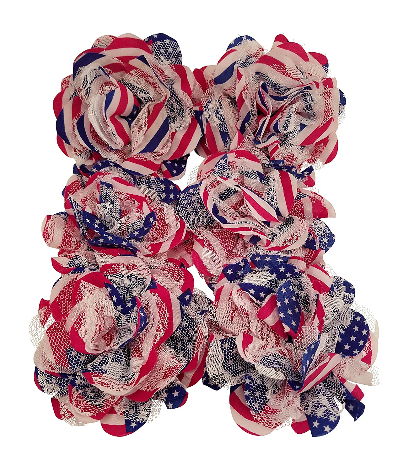 Chiffon Fabric Flowers - Red White and Blue - Patriotic 4th of July Lace Flowers for Headbands, Decorations, or Crafts (Pack of 6) 3Cats Art Supplies