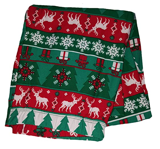 Christmas Reindeer & Trees Fair Isle Green Super Soft Sueded ...