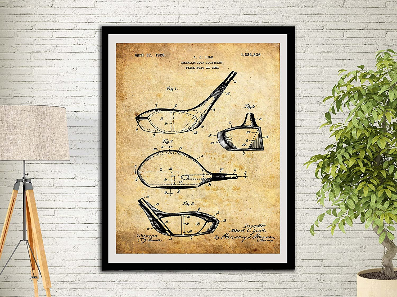 Amazon.com: Metallic Golf Club Head Patent Art Print Golf Gifts For ...